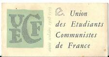 Carte d'adhérent UECF 1958 Etudiant communiste politique PCF