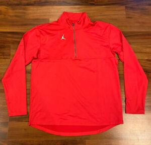 NEW Nike Jordan Men's 1/4 Zip Top Pullover Jacket Dri-FIT CJ1127-657 Red Large L