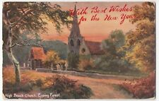 London; High Beech Church, Epping Forest New Year PPC, 1907 Peckham SOSE PMK