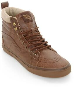 VANS Sk8 Hi MTE Mens Sz 9 Leather Brown Herringbone Gum VN0A33TXRJ2