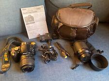 Nikon D60 10.2MP Digital SLR Camera Black Kit W 18-55mm & 55-200mm Lenses Case