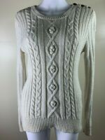 Miss Shop Size 14 Off White Long Sleeve Cable Knit Jumper Acry Wool Alpaca Nylon
