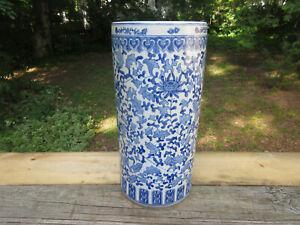 Antique Vintage Chinese Floral Blue & White Porcelain Umbrella Holder Vase