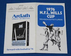 1976 NFL Wills Cup Season Fixture - SANFL WAFL VFL (Hard to Find)