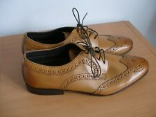 Mens M & S Brown Leather Lace Up Brogue Shoes Size 12     - (ref T11)