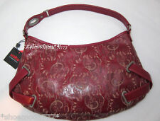 $278 Hobo International Leather Laser Cut CARTER Satchel Purse Bag Sac Maroon