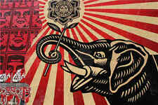 "Shepard Fairey Obey Print on Canvas Urban art Elephant Flower 24x36"""