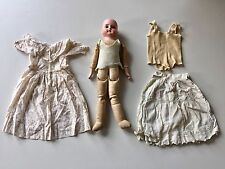 RARE ANTIQUE 1900's German Bisque Doll Leather Cloth Jointed Body All Original