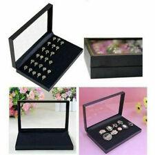 Velvet Jewellery Ring Display Organizer Case Tray Holder Earring Storage Box UK