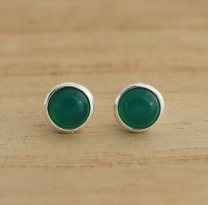 Natural Green Agate 925 Sterling Silver 6mm Round Stud Earrings Gift Boxed