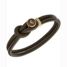 Emporio Armani EGS2213251 Rose Gold Plated Brown Leather Mens Bracelet