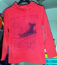 modisches Jungen Langarm Shirt , Rot , Aufdruck , Größe 110 / 116 , NEU