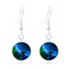 Asteroid Glass Dome Earrings Art Photo Tibet silver Earring Jewelry #36