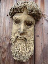 Zeus Greek God Face Sculpture decorative wall plaque stone garden ornament 34cmH