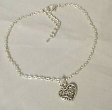 Heart charm ankle chain anklet ankle bracelet silver plated large plus size