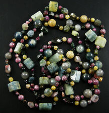 "62"" HAND KNOTTED NATURAL PINK TOURMALINE AQUA BLUE AQUAMARINE NECKLACE"