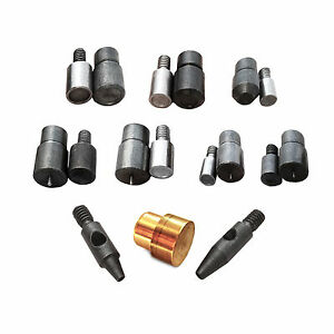 9 dies tools kit set for double and single cap rivets with hole punchers Sa23