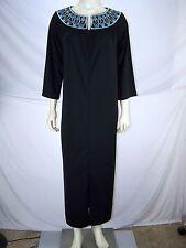 Bob Mackie Black 3/4 Sleeve Embroidered Beaded Dress Womens Size Small 4 6
