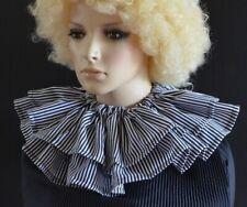 WHITE/BLACK narrow stripe/striped CLOWN RUFF/RUFFLE CIRCUS COLLAR layered