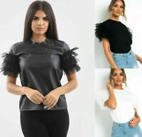 Womens Ladies Faux Leather Tutu Tulle Frill Puff Short Sleeve Party T-Shirt Top