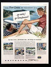 1948 Vintage Print Ad 40's Greyhound Bus Illustration Art Travel