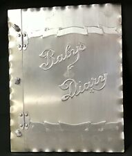 Antique Unusual Alusthan 1946 Baby Book Diary Butterfly Unique Steel Metal Cover