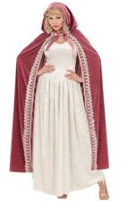 Deluxe Pink Velvet Long Hooded Cape Medieval Cloak Royal Princess Fancy Dress