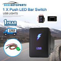 for Toyota Landcruiser USB Push Switch Prado 150 Hilux RAV4 Blue 12V ON OFF