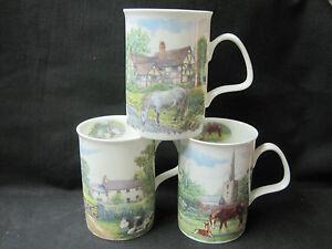 ENGLISH COUNTRY SCENE 3 different FINE BONE CHINA mugs. Made in England Kirkham