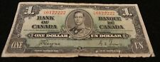 1937 Bank of Canada 1 Dollar Note in Good Condition NICE OLD Collectible Note!