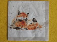 4 Servietten Fuchs Füchse Serviettentechnik NEU Wrendale The afternoon nap 4 Mot
