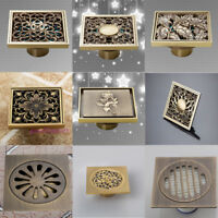 Floor Mounted Square Antique Brass Bathroom Shower Water Carved Floor Drain