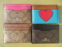 Coach Card Case Signature Leather PVC Black Brown Pink 63279 Cards Cases NEW NWT