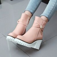 Women's Retro High Block Heels Round Toe High Top Platform Ankle Boots Zip Shoes