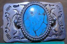Belt Buckle - Heart & Buffalo Head Motif with Stone Insert - 3''x1.75'' - 1E
