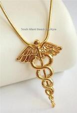 Gold Caduceus Necklace Pendant Doctor Medical Nurses Nurse Graduation Gift MD RN