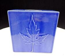 "CANADIAN ART POTTERY SQUARE BLUE EMBOSSED MAPLE LEAF 4 1/8"" VASE"