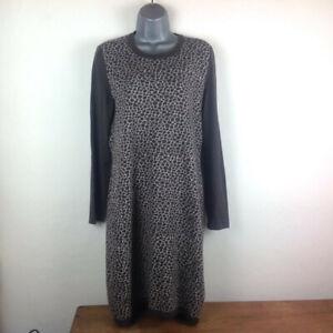 Max Mara Weekend Dress Women's Size L Brown Animal Print Long Sleeve Knee Length