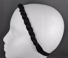 "Black sparkle sparkly braid braided stretch headband hair band 3/4"" wide"