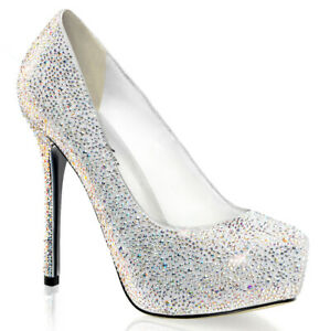 Fabulicious Prestige-20 White Rhinestone Wedding Party Ball Formal Heels US10