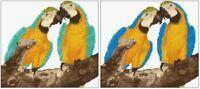 """Pair of Macaws - Blue & Aqua/Turquoise (Ara Ararauna) 9"""" x 8"""" Cross Stitch Kit"""
