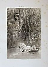 MOSES IN THE BULRUSHES, Religious, Bible Story, Vintage 1894 Antique Art Print