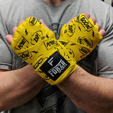 "Forza Sports 180"" Mexican Style Boxing and MMA Handwraps - Comic Book Yellow"