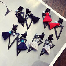 Bohemian Charm Women Black Hollow Triangle Tassel Drop Dangle Ear Stud Earrings
