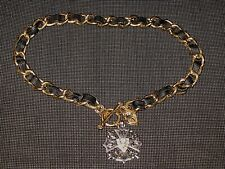 JUICY COUTURE BLACK LEATHER STERLING RHINESTONE CHARM WOMEN'S CHOKER NECKLACE