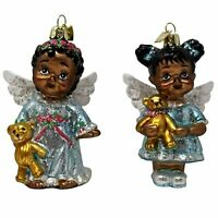 Set/2 Kurt Adler Glass African American Angel Ornaments Christmas Tree Decor