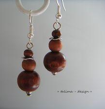 Ohrringe Holz Holzperlen BRAUN  ***handmade***