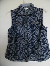 Christopher & Banks Floral Jean  Vest Blouse Top Sz M
