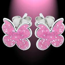 Ohrstecker Kinder Ohrringe Kinderschmuck Schmetterling pink glitter 925 Silber