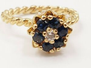 Tulip- Flower Shaped Cable Band Round Sapphires and Diamond Ring in 14KT Yellow
